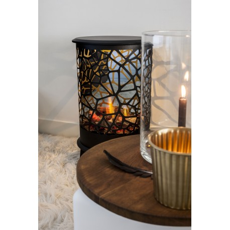 Poele décoratif OPTI-V 360° noir imitation buches, flammes et crépitements