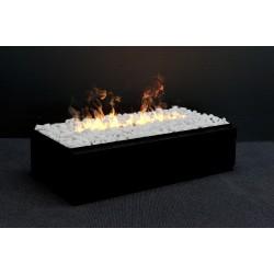 DIMPLEX CASSETTE L noir et galets blancs foyer encastrable universel décoratif OPTIMYST fumée réelle
